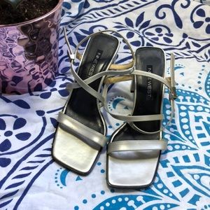 Nine West 90s silver strappy high heels